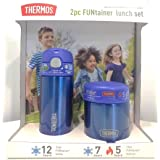 Thermos FUNtainer Lunch Set Bottle and Food Jar for Kids BPA Free Dishwasher Safe, 2 PC (Blue, 2 PC Set)