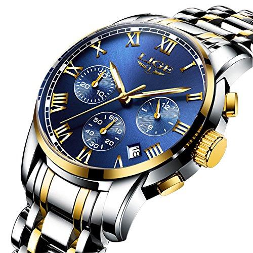 LIGE スタンダード 腕時計 ステンレス製 多機能 メンズ...