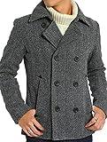 インプローブス Pコート メルトン ウール ショート コート メンズ ピーコート グレー ヘリンボーン Lサイズ