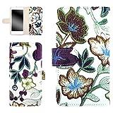 whitenuts iPhone7 ケース 手帳型 【左利き】 フラワー刺繍プリント パープル WN-OD322670