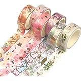 Yubbaex 花柄マスキングテープ 金箔押し 15mm幅 x 6巻 薄いです プレゼント包装、DIY工芸品、ノートの装飾に使える (金の花 6巻)