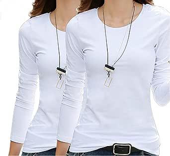 インナーシャツ レディース 2枚セット あったかインナー保温 薄手 長袖(2枚组 ホワイト/ホワイト XL)