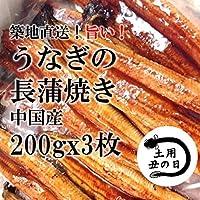 ウナギの蒲焼き 200g x 3尾 ボリューム満点 築地直送 うなぎの長蒲焼き 鰻
