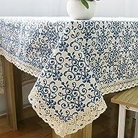 正方形のテーブルのテーブルクロス綿とリネン結婚式レジャーダイニングホテルコーヒーテーブル洗えるクリスマスお祝いの青と白の磁器パターン装飾ダスト布 , 140*180cm