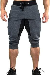 メンズ トレーニングパンツ ジム ジョガーパンツ フィットネス スリム スウェットパンツトレーニングパンツ スポーツ メンズ フィットネスパンツ ショート ジョガーパンツ スウェット ジムウェア ランニング 7分丈 カーゴ 無地