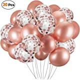 30 Pcs Rose Gold Confetti Balloons,Latex Balloons Set Ideal for Weddings Birthday Party Decoration, Bachelorette Bridal & Bab