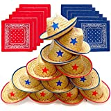 (Cowboy Hats With Bandannas) - Dozen Straw Cowboy Hats and Bandanas for Kids - Makes Great Birthday Party Hats for Boys and Girls