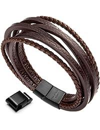 """murtooレザーブレスレットmagnetic-clasp牛革Braided多層ラップメンズブレスレット、7.5"""" -8.7"""" adjustable ブラック"""