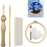 ZX VISION Wooden Handle Embroidery Pen Punch Needle Kit Craft Needlework Stitching Kit Include Embroidery Hoop Fabric Monk's