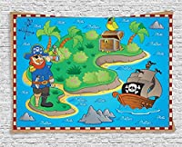 (200cm W By 150cm L, Multi 7) - Ambesonne Island Map Decor Collection, Funny Cartoon of Treasure Island with A Pirate Ship and Parrot Kids Play Room Decoration, Bedroom Living Room Dorm Wall Hanging Tapestry, 200cm X 150cm , Multi