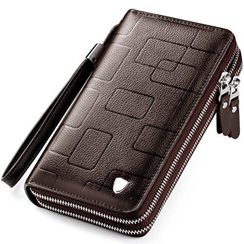 0b322ba59fd8 長財布 本革 財布 メンズ 小銭入れ 大容量多機能 レザービジネスウォレット ダブル