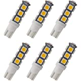 GRV T10 921 194 13-5050 SMD Wedge LED Bulb lamp Super Bright Warm White DC 12V Pack of 6
