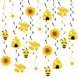 20PCS Bumble Bee Hanging Swirl Decorations, Bee Party Hanging Swirls Ceiling Streamers Bee Themed Party Supplies for Kids Bir