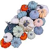 24 Pcs Bulk Assorted Rustic Harvest Artificial Blue Pumpkins Foam Pumpkin in White Orange Green Teal for Fall Autumn Hallowee