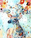 WONZOM 油絵 数字キットによる絵画 塗り絵 手塗り DIY絵 デジタル油絵 鹿S 40x50センチ