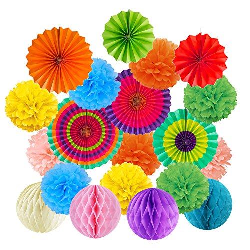 飾り付けセット Cocodeko ペーパーファン ハニカムボール ペーパーフラワー 紙扇子 飾り付け 誕生日 結婚式のデコレーション - カラフル