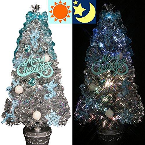 クリスマスツリー ファイバー 180cm 分割型 ファイバーツリー セット 銀色  シルバーツリー LED光源
