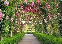 qtmyヴィンテージJust Married結婚バナー写真小道具ブライダルパーティー装飾3M