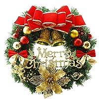 Fashion maker(F&M)クリスマスリース 玄関 ドア 壁 オーナメント 装飾品 インテリア 飾り ゴージャス かわいい リボン 華やか 北欧風 直径30cm~50cm (直径40cm, レッド)