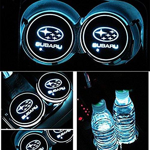 車用 LED ドリンクホルダー レインボーコースター 車載 ロゴ ディスプレイライト LEDカーカップホルダー マットパッド (スバル Subaru)