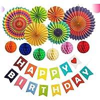 Funpa ガーランド 紙ランタン ペーパーファン diy 誕生日 パーティー 飾りづけ デコレーション 13点セット 紙 カラフル