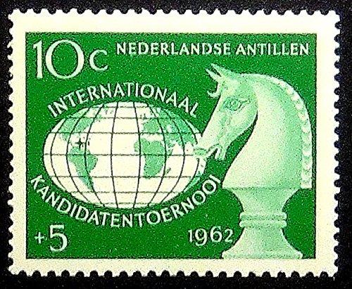チェスピースKnight Nederlandse Antillen–ハンドメイド切手スタンプアート0180