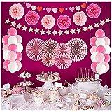 パーティーデコレーション ペーパーファン ハートバナー ポンポン タッセルパーティー用品 バレンタインデー 記念日 結婚式 ベビーシャワー お祝い