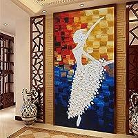 Jason Ming カスタム3D壁画壁紙ヨーロッパスタイルバレリーナガール廊下壁紙要約入り口大壁画バレエダンス-150X120Cm