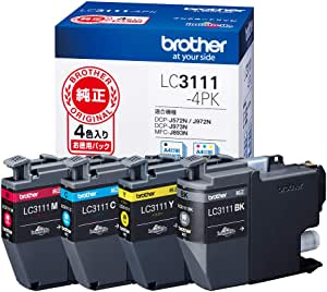 【brother純正】インクカートリッジ4色パック LC3111-4PK 対応型番:DCP-J987N、DCP-J982N、DCP-J587N、DCP-J582N、MFC-J738DN 他