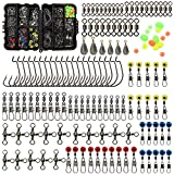 Croch 160pcs/box Fishing Accessories kit with Tackle Box,Including Fishing Swivels Snaps, Bullet Bass Casting Sinker Weights, Fishing Line Beads,Jig Hooks