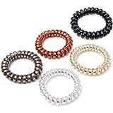 AVILMORE スプリング ヘアゴム 5点セット ポニーテール 髪飾り ヘアアクセサリー メタリックカラー4色+ブラック