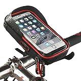 MRedoxe 自転車ホルダー 防水 防塵 バイクスタンド スマホホルダー 360 度回転 スマホバッグ フレームバッグ 強力固定 多機種対応 Andriod/iPhone/GPS (赤+黒)