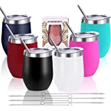 Zonegrace 6 pack Mix Color 12 oz Stainless Steel Stemless Wine Glass Tumbler Double Wall Vacuum Insulated Bulk Wine Tumbler w