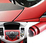 Amazon.co.jpMercury 伸縮性 高品質 152cm×30cm 3Dリアル カーボン調 カーボンシート ステッカー (カーボンレッド)
