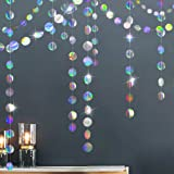 Glitter Iridescent Circle Dots Garland Paper Hanging Polk Dot Streamer Party Decoration Bunting Banner Backdrop for Birthday/