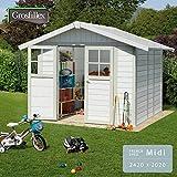 フランス発のお庭に馴染む白い小屋型収納庫 「Grosfillex ゴーフィレックス フレンチシェッド ミディ」 壁ホワイト×縁グリーングレー