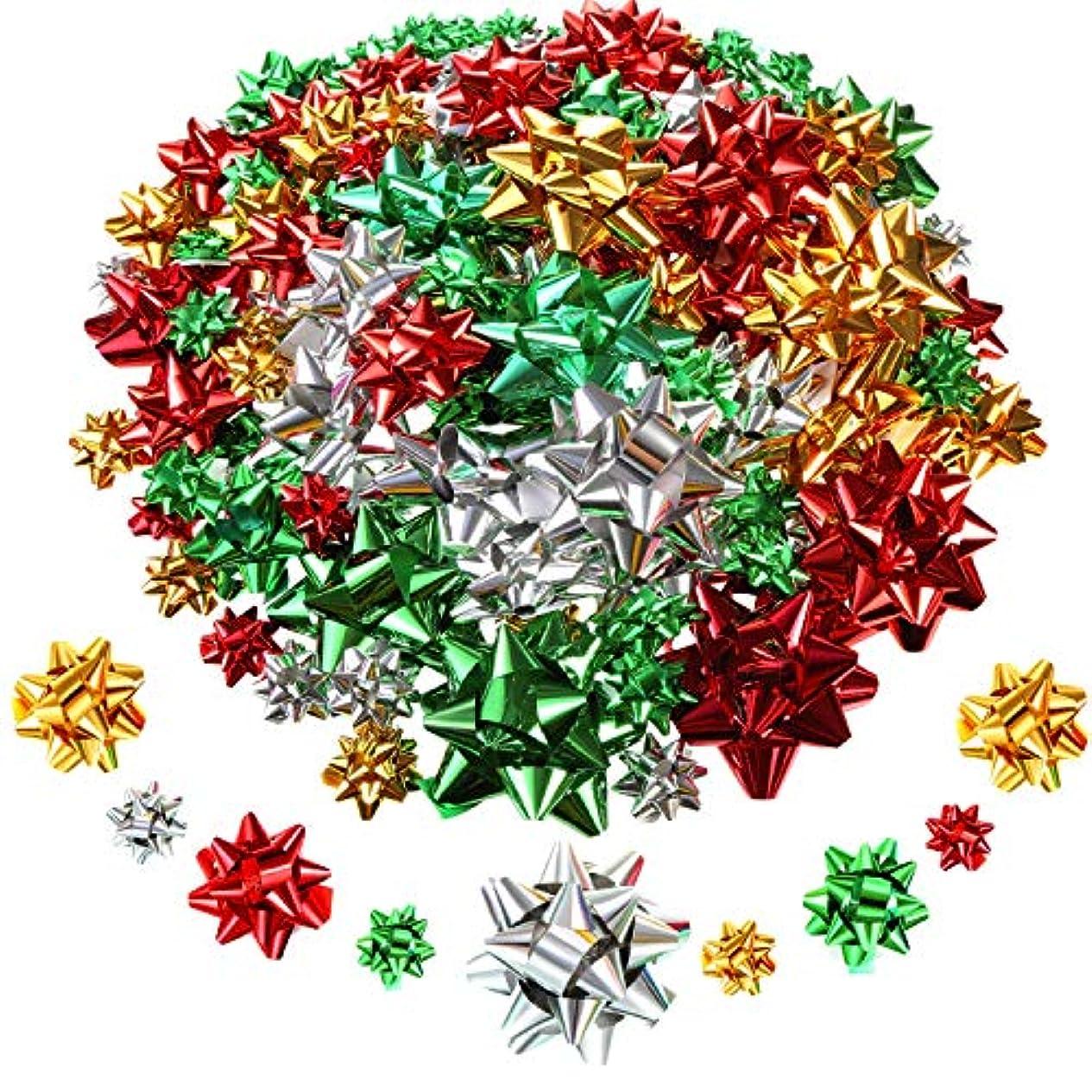 多様性ファブリック変換するTatuo 130個プレゼント用 包装 クリスマス 金属がプレゼント 飾る用 自己粘着ギフト弓弓弓(クリスマスカラー)