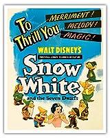 ウォルト・ディズニー:「白雪姫」 - スリル!喜び!メロディ!マジック! - ビンテージなフィルム映画のポスター c.1937 - アートポスター - 41cm x 51cm