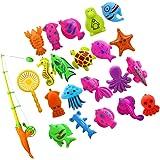 HOMYL 22Pcs Magnetic Fishing Toy Fish Model Set Bath Time Baby Kid Pretend Play Educational