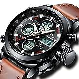 [メガリス]MEGALITH腕時計 メンズスポーツ軍事腕時計レザー防水 クロノグラフ時計ブラック アナデジ多機能ウオッチ ルミナス夜光 日付表示 アラーム おしゃれ ビジネス カジュアル 男性腕時計