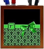 Rikki Knight Letter T Green Monogram Damask Bow Design 5-Inch Tile Wooden Tile Pen Holder (RK-PH41977) [並行輸入品]