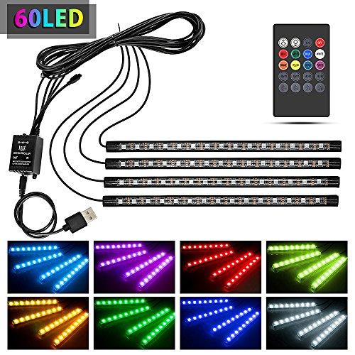 Wsiiroon 車 60LED RGB テープライト US...
