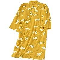 (ケヤカ) Keyaka レディース 寝巻き バスローブ 浴衣 メンズ 甚平 パジャマ 綿 猫柄 前開き 旅館 女性用…
