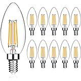 LED Candle Bulbs E12/E14 Candelabra Base Bulbs 40W Equivalent, High CRI 80 + Eye Protection, Dimmable, Warm White 2700K 400LM