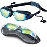 Swim Goggles, SOFER Swimming Goggles with Anti-Fog UV-Protection Lens & 180° Wide Clear View, Flexible Nose Bridge, Soft Sili