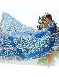 夏の女の子スーパーシルクスカーフ長い旅行のスカーフの休暇桑のシルクの日焼け止めのビーチタオル96.4 * 43.3インチ (Color : Blue)