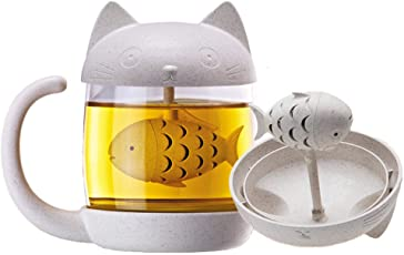 TAKIの部屋 マグカップ 萌え猫 麦香り 可愛い 耐熱魔法瓶 魚の浸漬機 爆発防止 硬質ガラス 穀物繊維 250ML