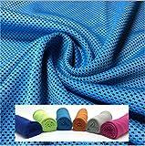 クールタオル ひんやりタオル 冷感タオル ひんやり気持ちいい 冷却グッズ 紫外線防止(UPF)50+  長さ100cm 色:ライトブルー