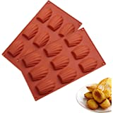 HYCSC 9 Cavity Madeleine Pan, 2Pcs Nonstick Silicone Madeleine Molds, Shell Shape Baking Cake Mold Pan(Brick red)