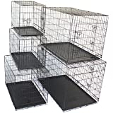 """Pet Dog Crate Metal Folding Cage Portable Kennel House Training Puppy Kitten Cat Rabbit with Removable Tray (Medium 30"""")"""